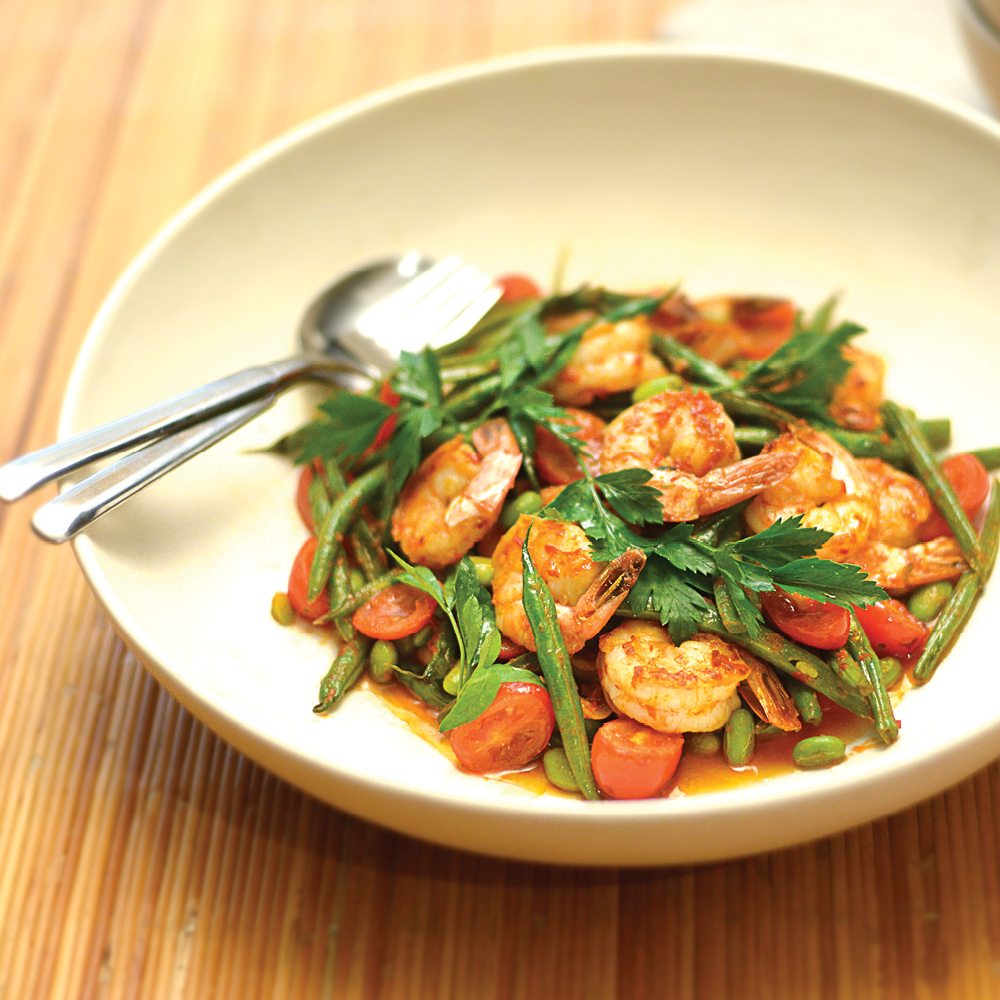 Chili Shrimp With Beans & Edamame Recipe