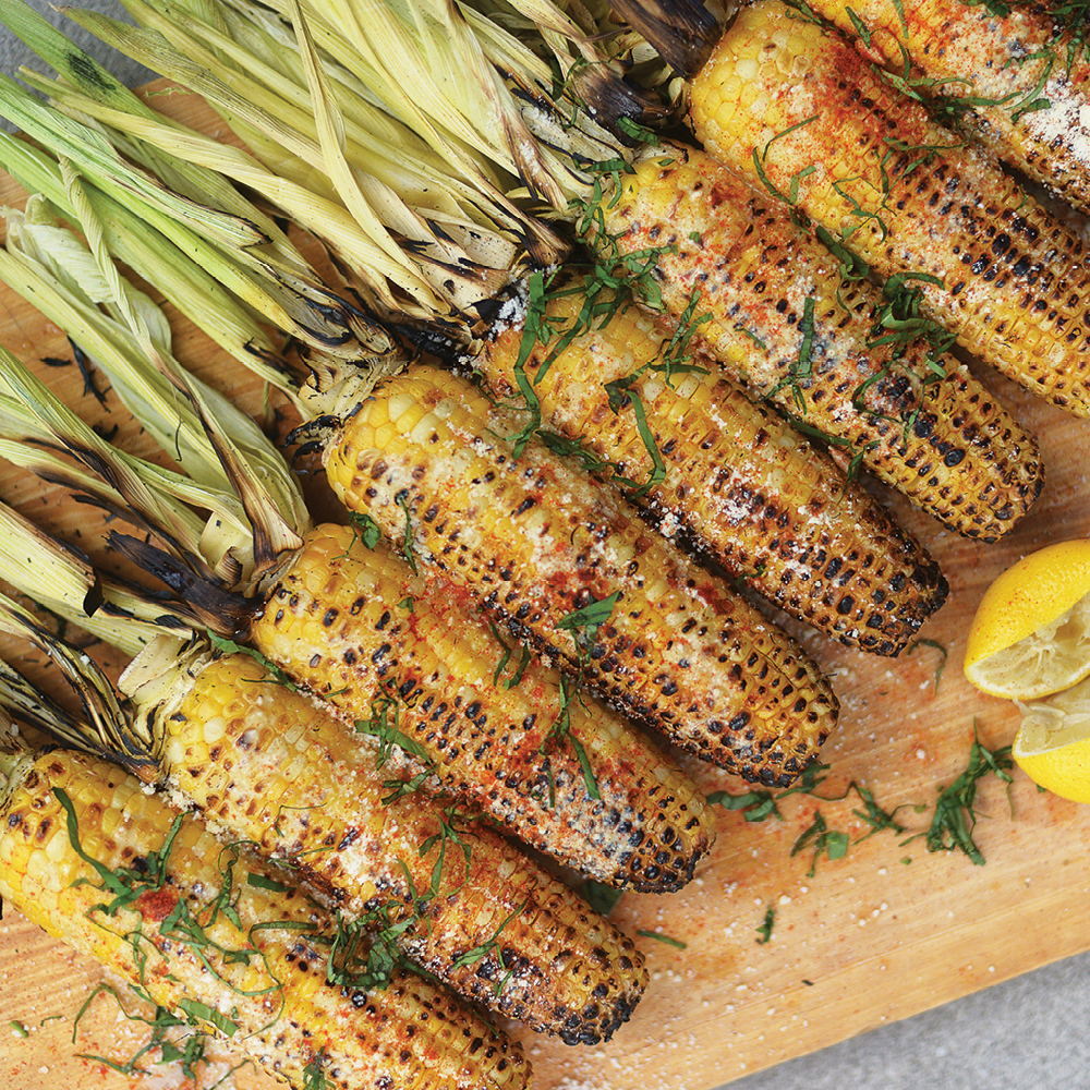 BBQ Corn With Butter, Parmesan, Lemon & Tahini