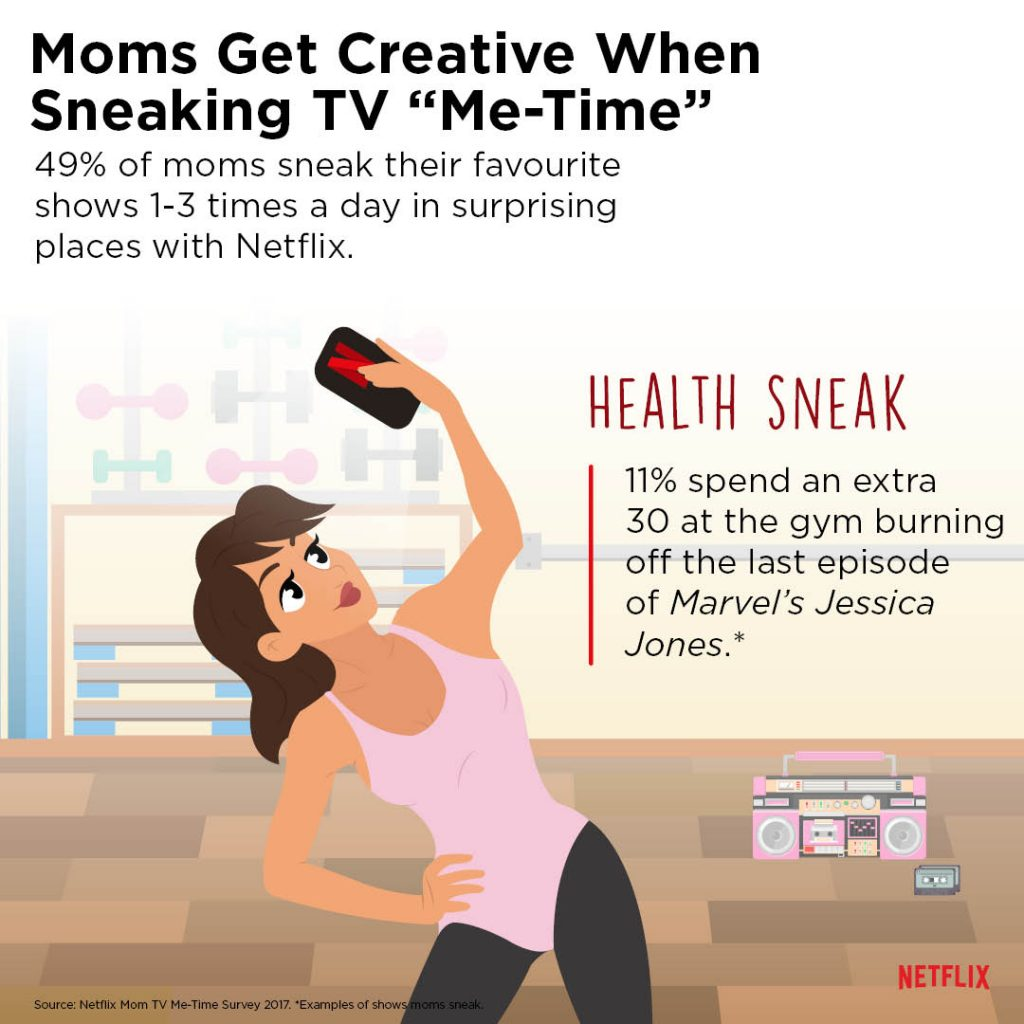 Moms stream time during workout Netflix