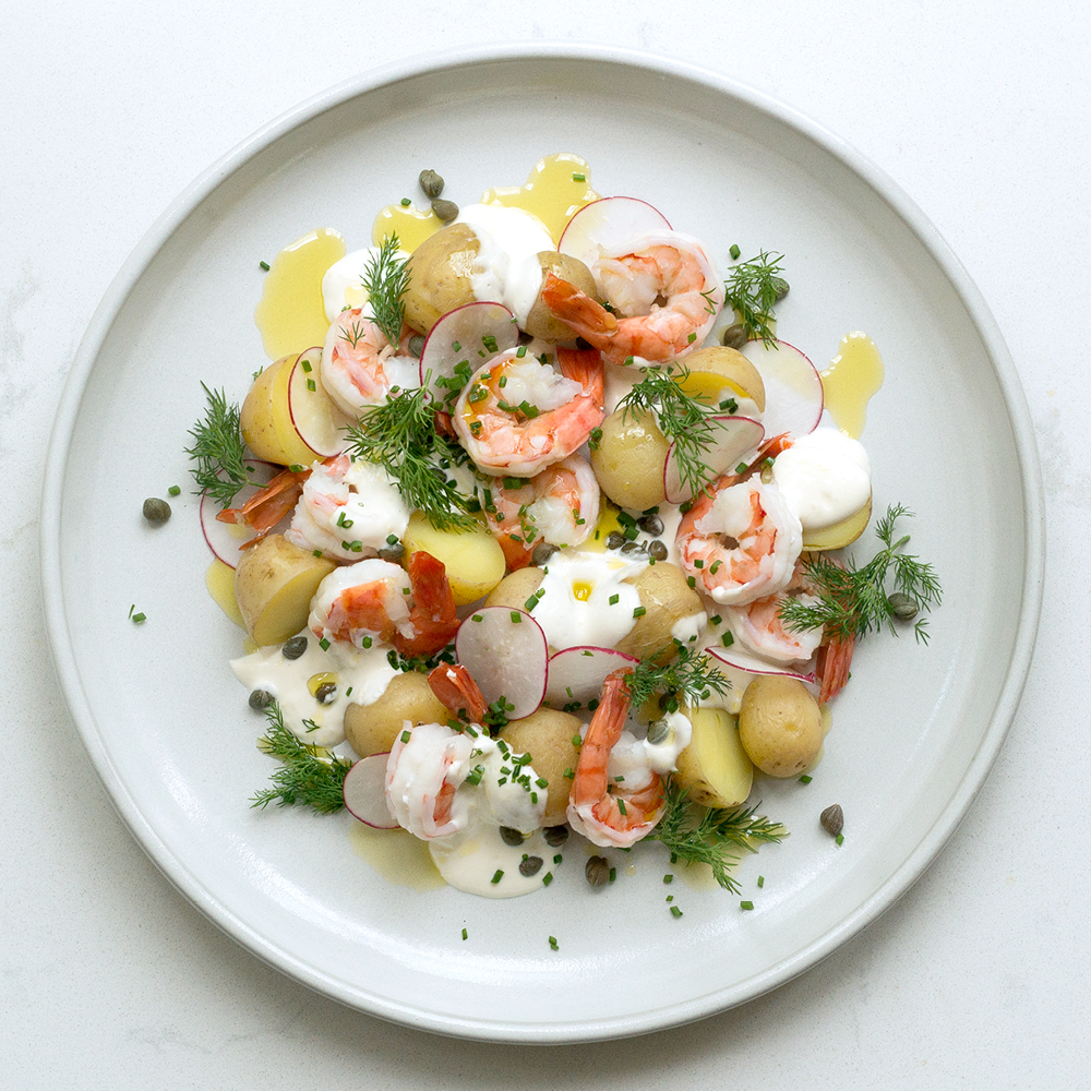 Potato & Prawn Salad with Lemon Yogurt, Capers & Radish